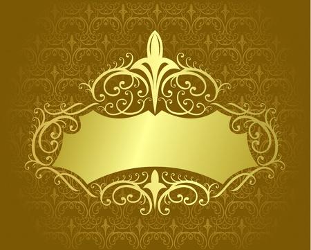 vintage gold frame:   illustration of vintage gold frame with texture background