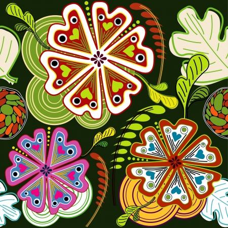 batik: Résumé Flora Illustration Vecteur transparente motif