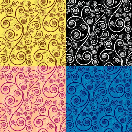 lines wallpaper: Seamless repeat illustration pattern in 4 different color Illustration