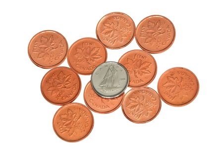 dime: Canadian cents and dime isolated