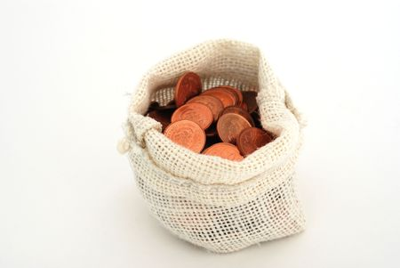 Money bag with cents on white background photo