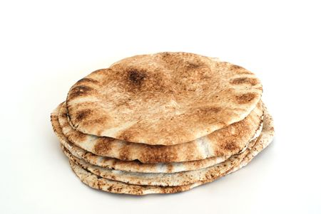 Pita flat bread isolated on white