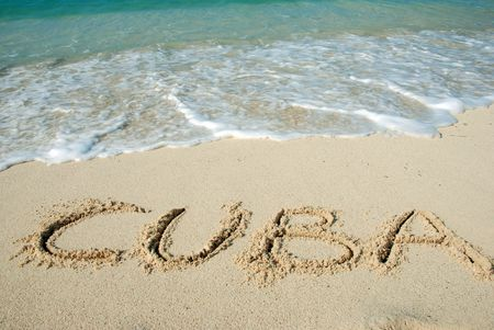 Cuba beach, letters on the sand photo