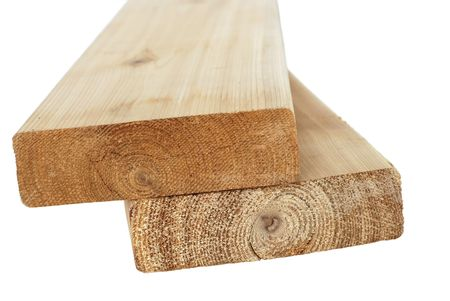 Cedar wood 2x6 boards  isolated on a white