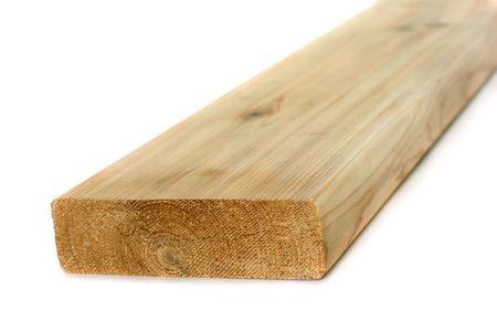Cedar wood 2x6 board isolated on a white