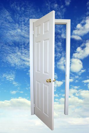 White open door and blue sky