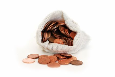 Money bags with coins on a white background Stock Photo - 3695910