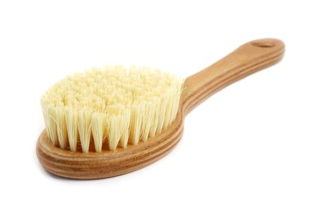 comb hair: Natural bath brush isolated on white background