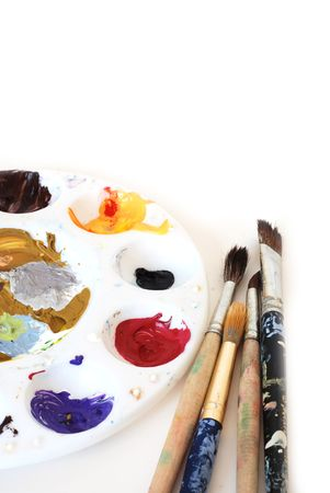 Painter's palette and brushes with copy space at the top Stock Photo - 4580125
