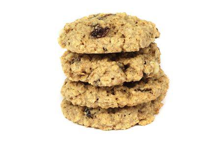 oatmeal: Oatmeal raisen cookies isolated Stock Photo
