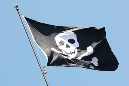 ship wreck: Flag of a Pirate skull and crossbones