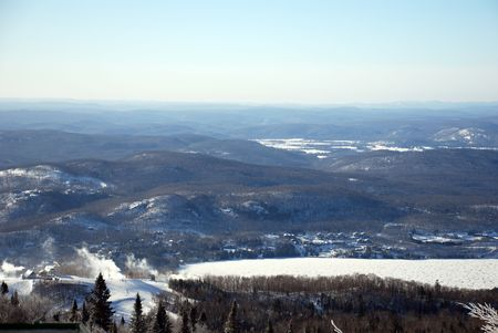 View from a ski hill in Quebec, Canada Stock Photo