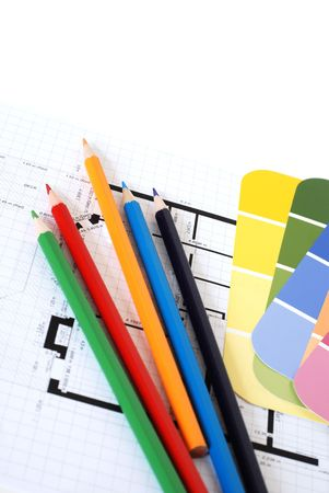 Color swatches, pencils and plans isolated
