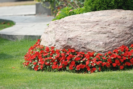 appeals: Landscaped flower garden with a rock and red flowers