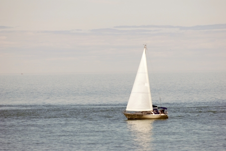 recreational vehicle: Sailboat at sea Stock Photo