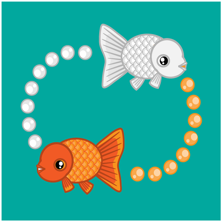 They are goldfishs.Many people believe that goldfish is sacred. Illustration