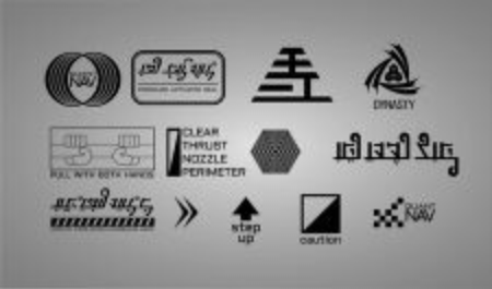 SciFi Space Decal Set With Alien Language