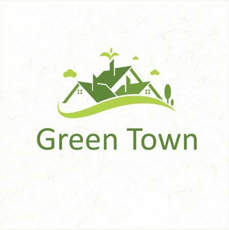 Green Town for real estate business  イラスト・ベクター素材