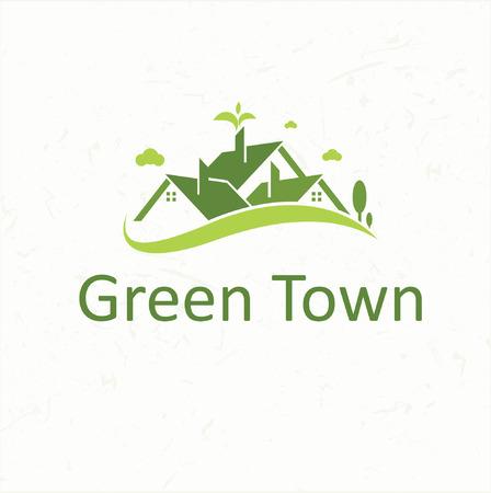 Green Town for real estate business Ilustração
