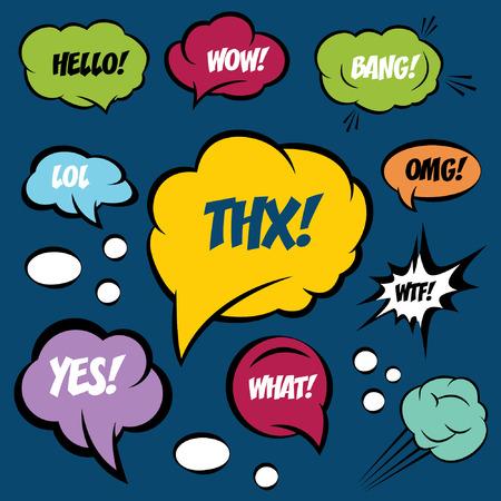 bubble speech: A set of comic bubbles and elements Illustration