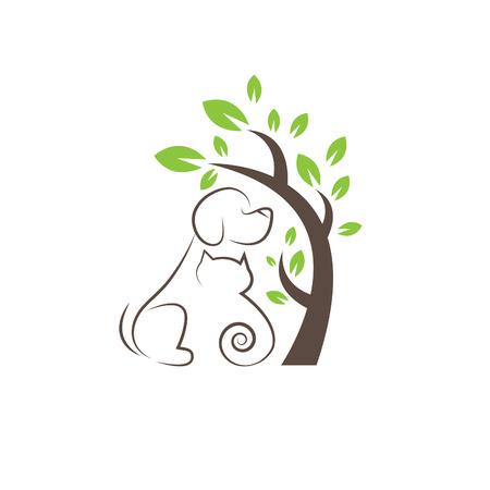 Rysowanie linii koty i psy pod drzewem Ilustracje wektorowe