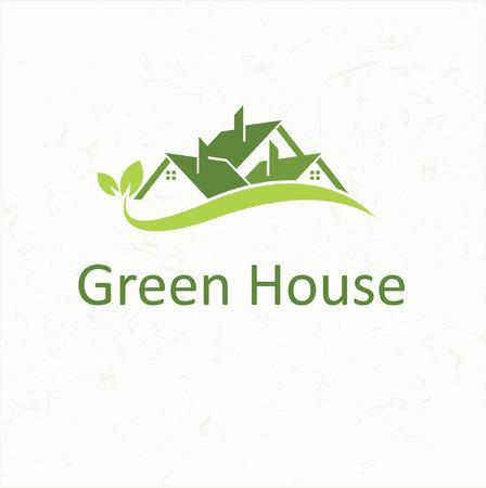 Tejados de las casas para negocio inmobiliario Green House Ilustración de vector
