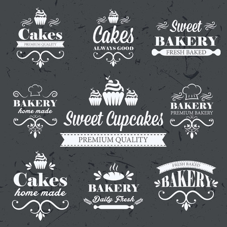 Vintage retro bakery labels on chalkboard Illustration