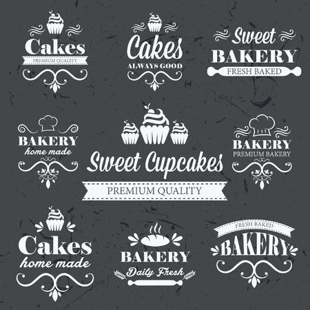 Vintage retro bakery labels on chalkboard Ilustração