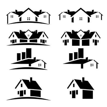 House roofs set for real estate business Stock Illustratie