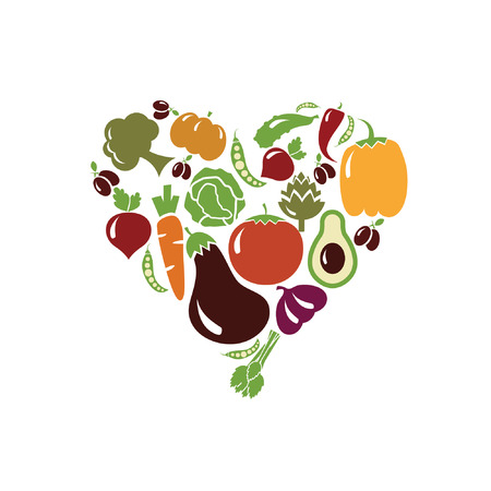 vector heart made of vegetables Vector