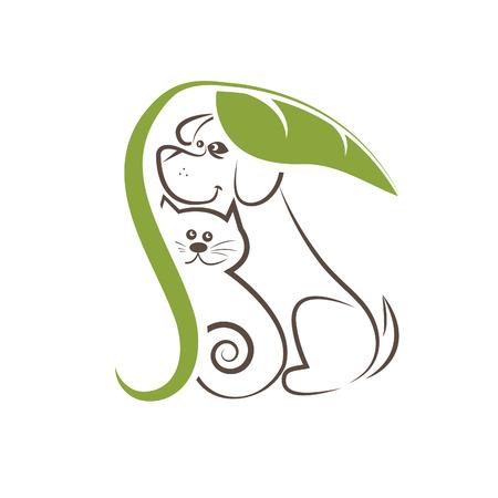Lijntekening katten en honden onder het blad Stock Illustratie