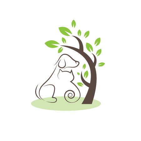 線の描画の木の下で犬と猫