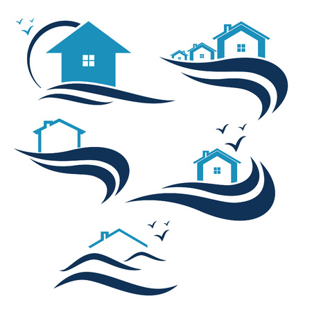 real estate sign: House and waves icon vector Illustration