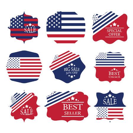 Vector vintage sale label set design elements in american flag color Vector