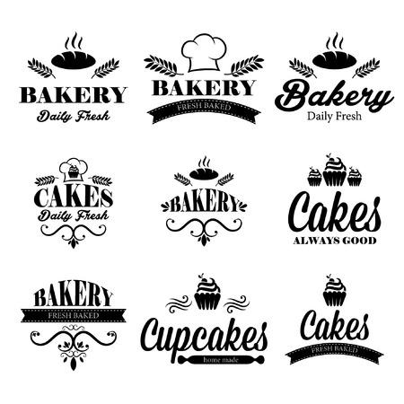 battledore: Set of black bakery  Illustration
