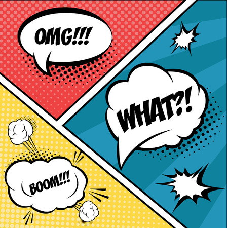 comic strip: A set of comic bubbles and elements in pop art,with halftone shadows