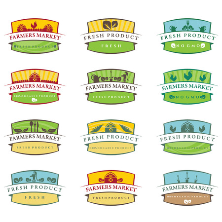 farm fresh: Set of illustration farm labels.Vector