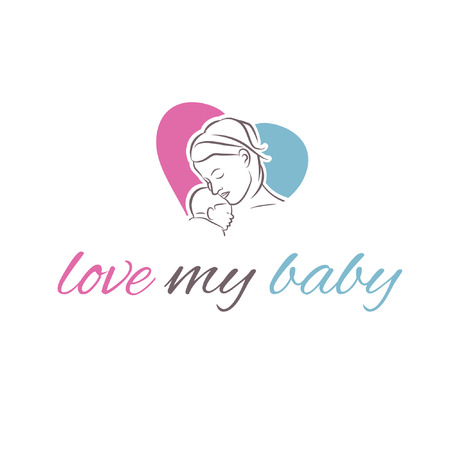 child care: illustration icon mother and her baby in shape heart
