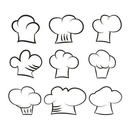 cook hats: Set de cocinero gorras conjunto aislado sobre fondo blanco