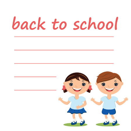 Illustration cute boy and girl with blank back to school Vector