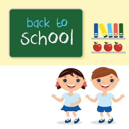 schulklasse: Illustration Kinder in Schulklasse, mit Schulbeh�rde. Mit Text wieder in die Schule. Illustration