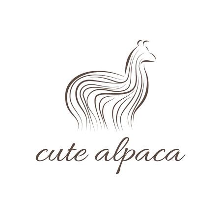 Abstract illustration icon of alpaca Vector