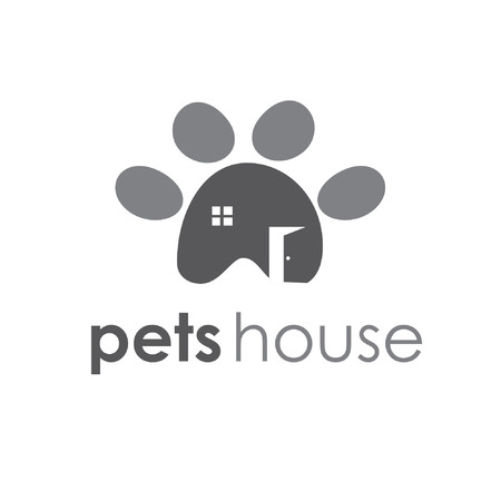 Abstract illustration icon of pets paw with window and door Vector