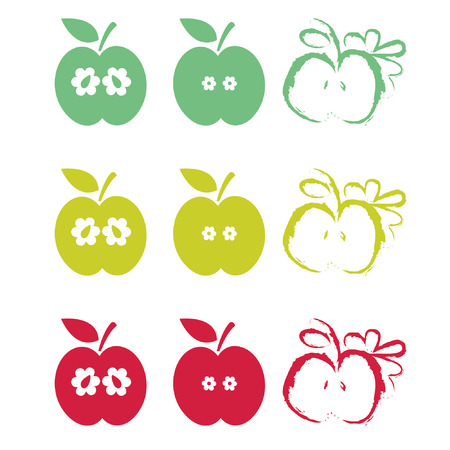 Illustration set of half apples