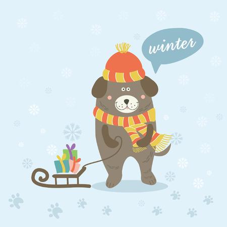 sledge dog: Illustration of a winter scene with a cartoon dog Illustration