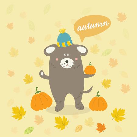 autumn scene: Vector autumn scene with a cartoon dog