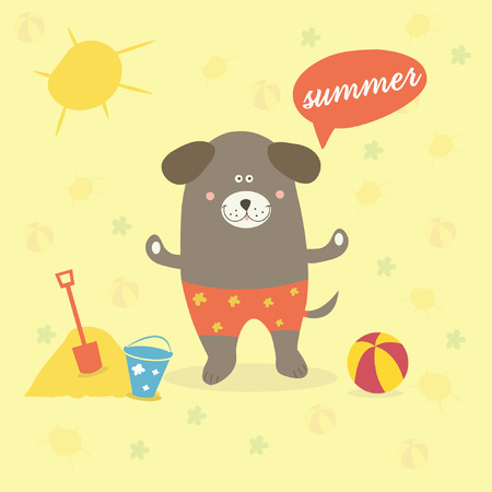 Illustration of a summer scene with a cartoon dog Vector
