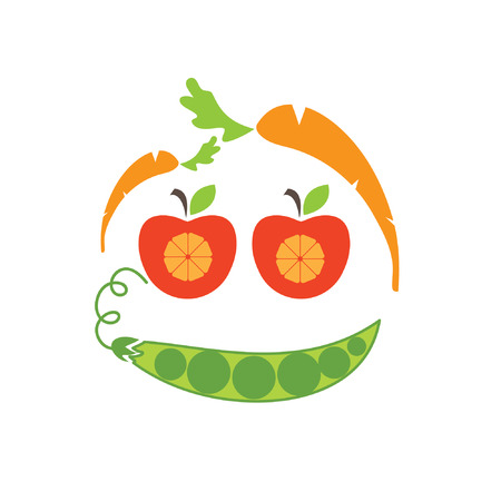 tongue out: Abstract funny face illustration of apple,carrot and peas