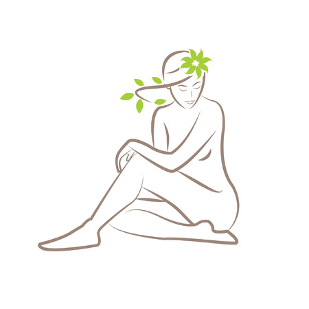 Illustration of a silhouette of a seated woman with leaves in her hair Vettoriali