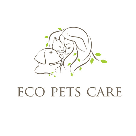 Illustration icon veterinary clinic with cat and dog